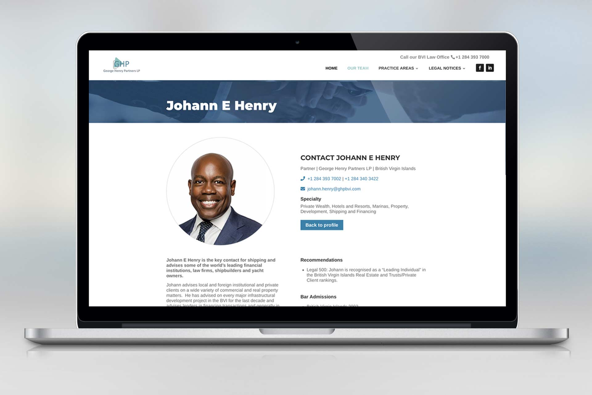 A mockup screen of a law website design, containing a profile page for a BVI lawyer.
