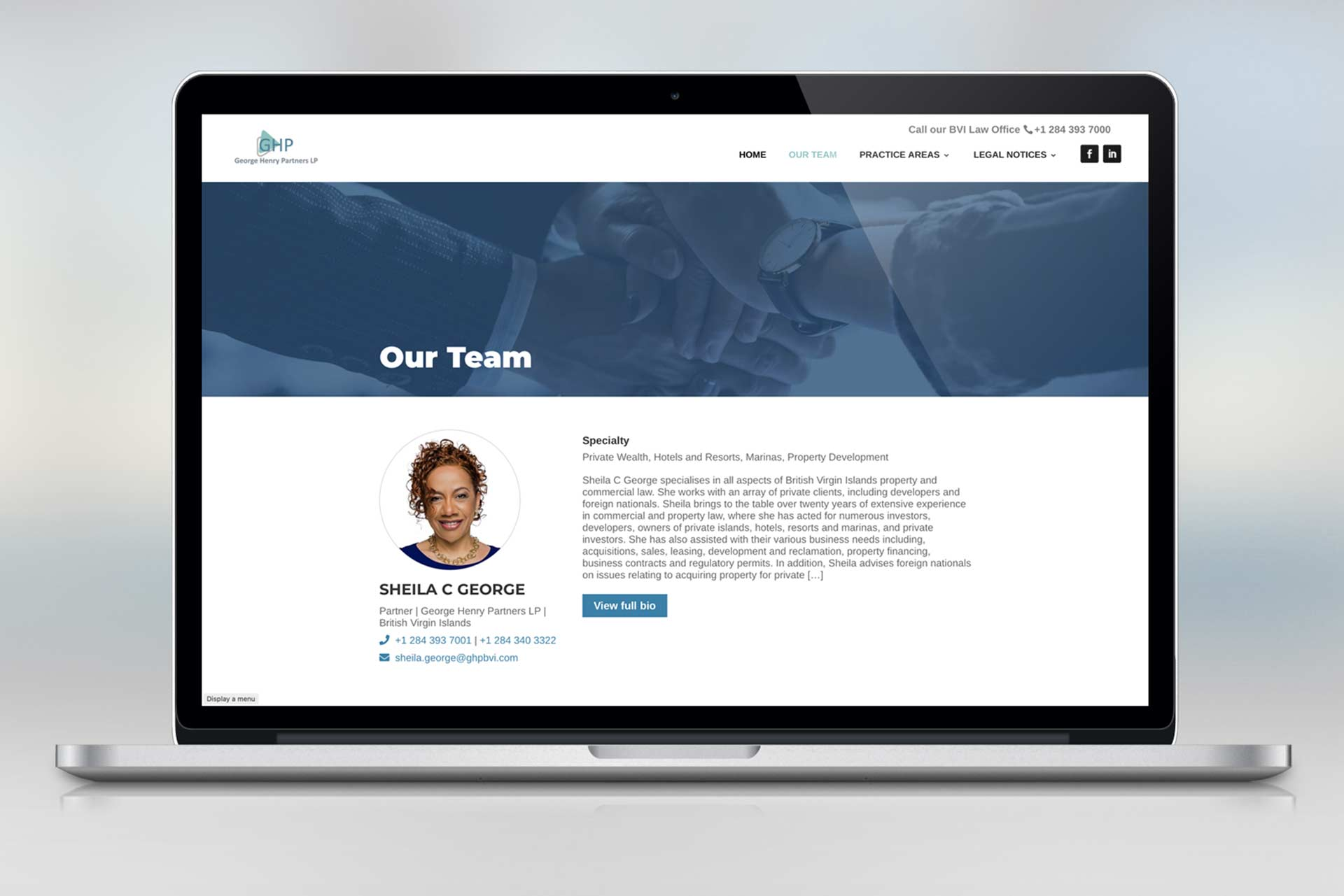 A web design mockup of a profile screen of a female BVI lawyer